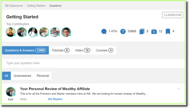 getting started classroom at Wealthy Affiliate
