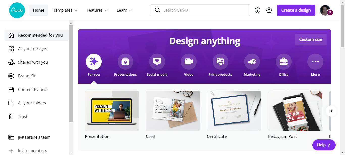 Canva free graphic design tool