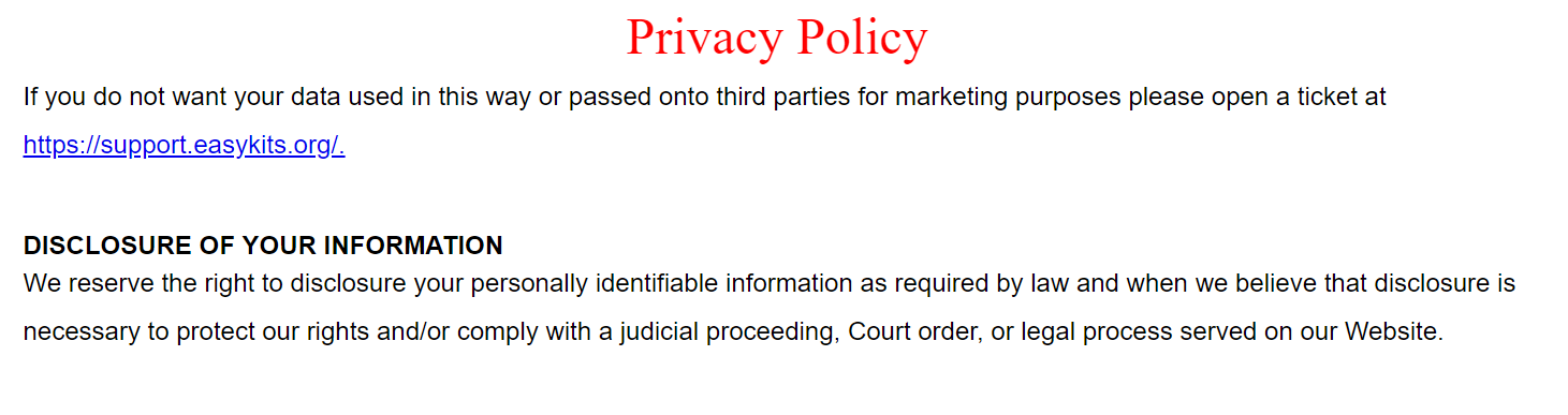 only mention in privacy policy