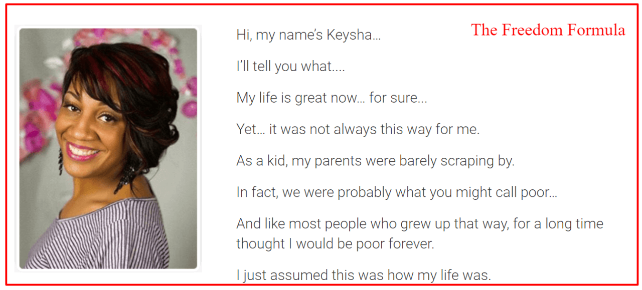 keysha the owner of the freedom formula?