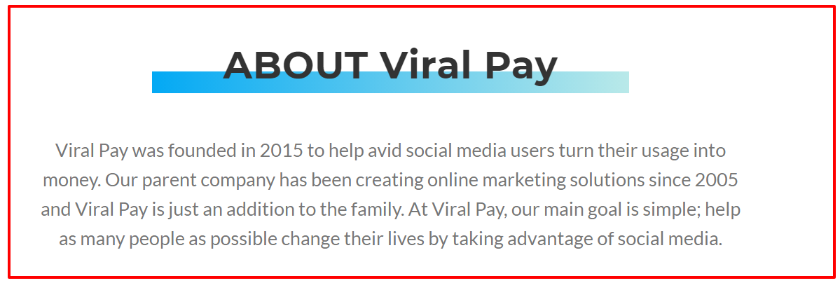 Viral pay review- About page