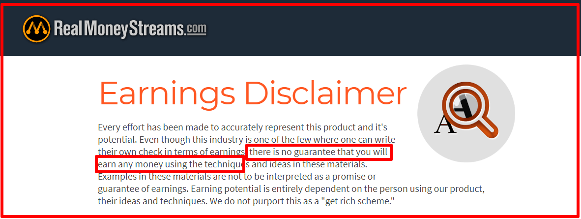 Earnings Disclaimer >> Real Money Streams