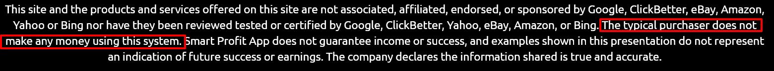 Smart Profit App disclaimer