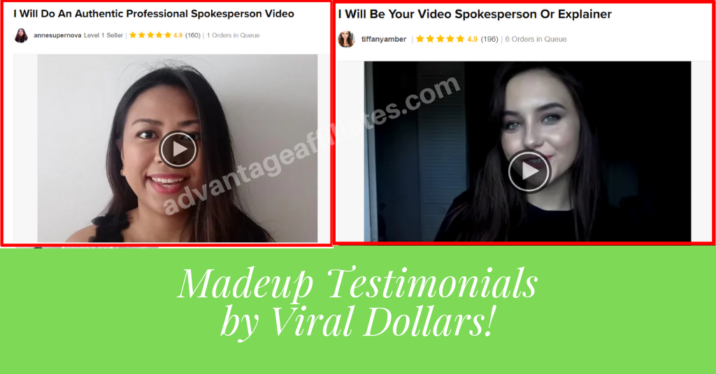 made up testimonials by viral dollars