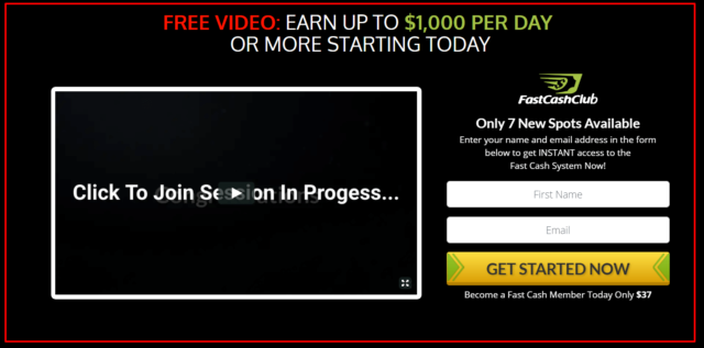 homepage of Fast cash club