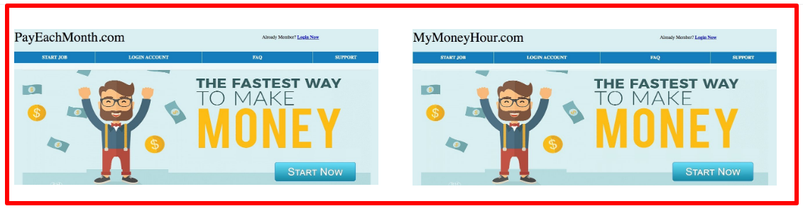 same landing pages of sites