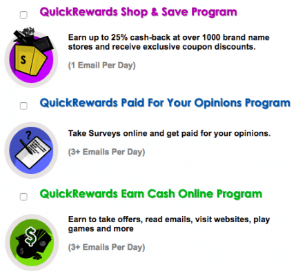different options of earning on quickrewards