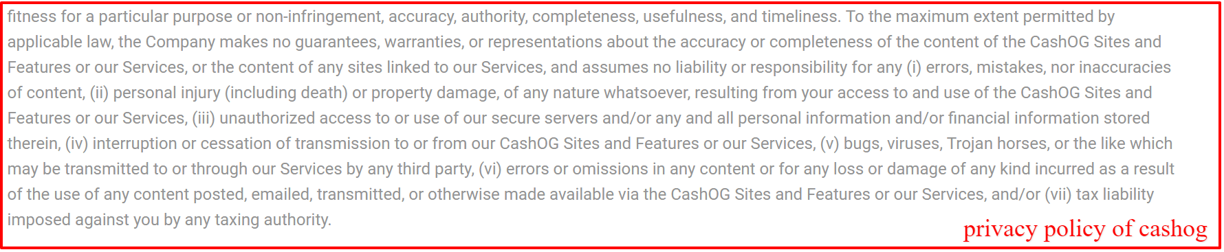 privacy policy of cashog
