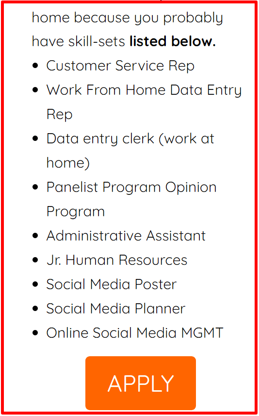 listing of jobs