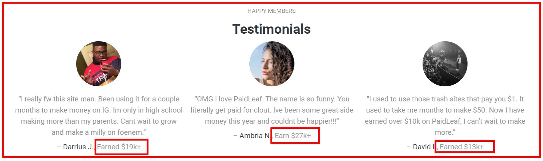 paid leaf testimonials
