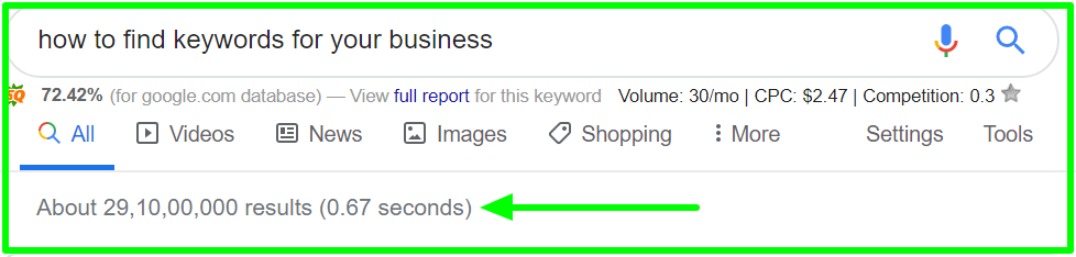 compare google how to find keywords for your business - Google Search (1)