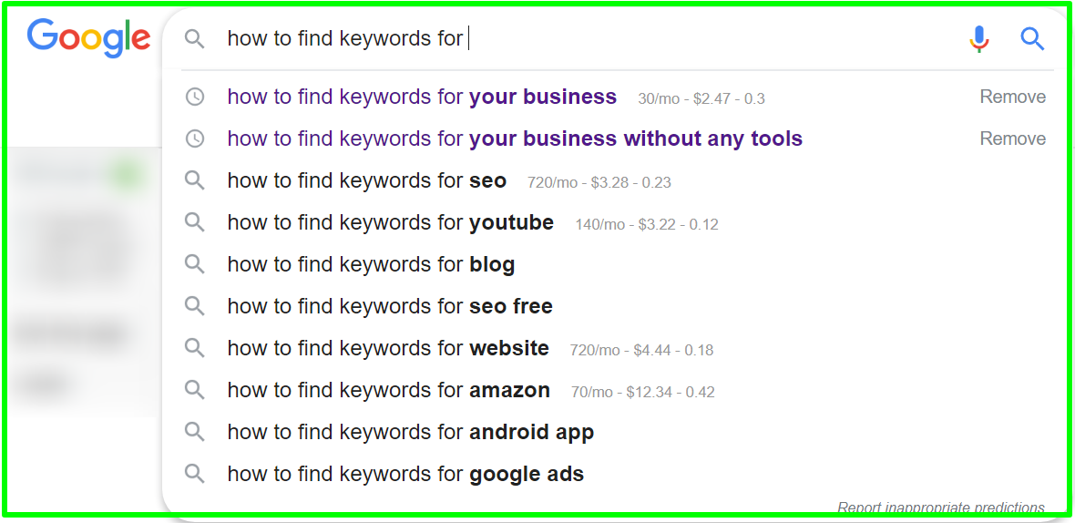 _how to find keywords for your business