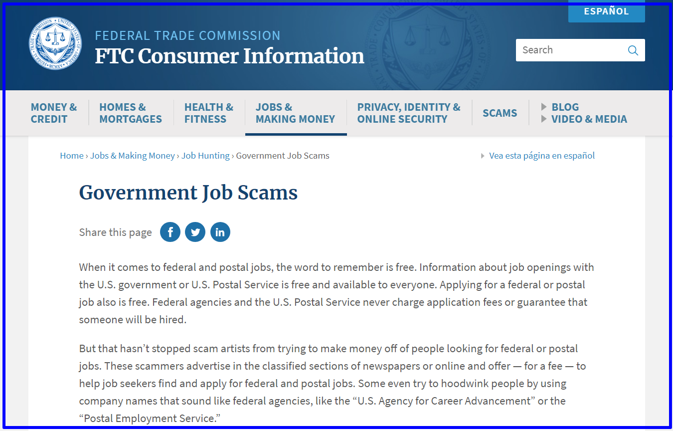 FTC warning against government scams