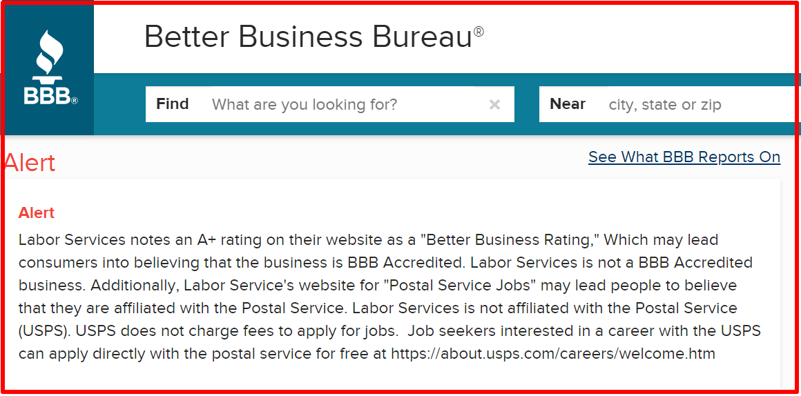 BBB warning against postal jobs source
