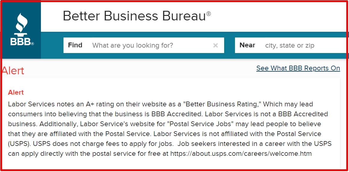 BBB warning against postal jobs source