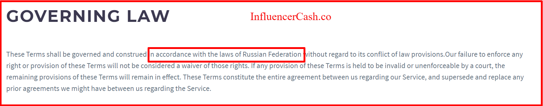 Terms and conditions influencercash