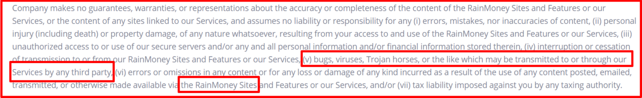 terms rainmoney malware and viruses