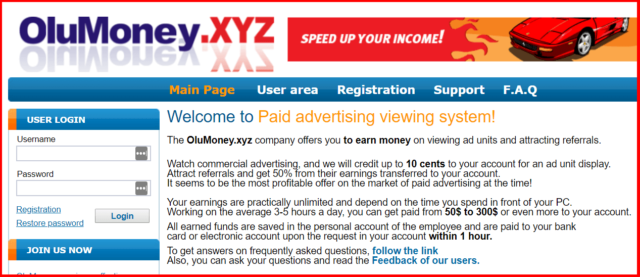 homepage of olumoney