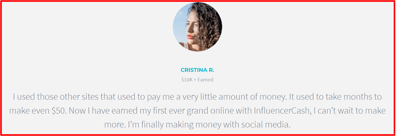 fake testimonials by influencer cash