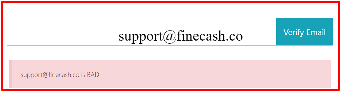 email address verification of finecash