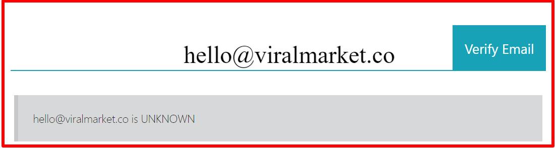 eamil verification of viral market