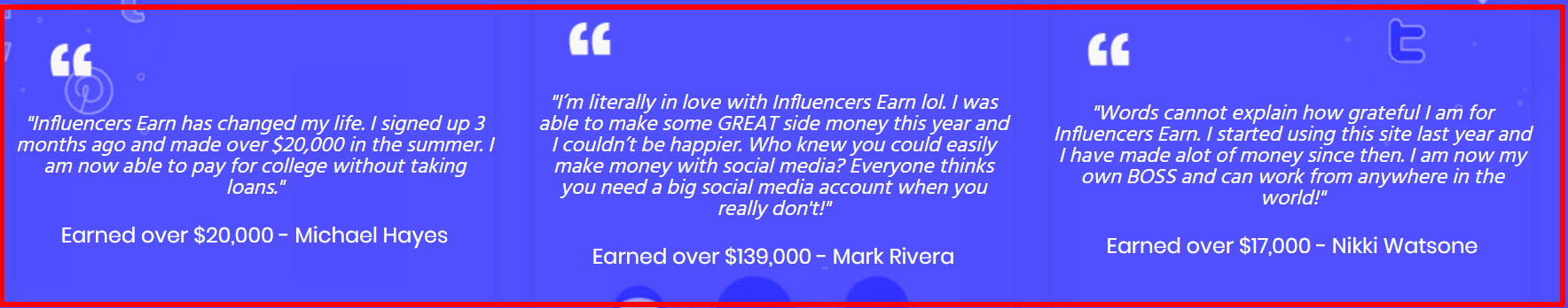 Influencers Earn Review - testimonial on its own site
