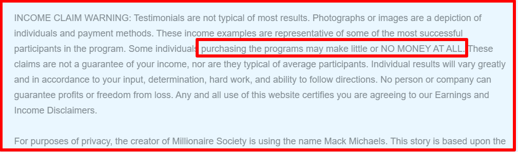 disclaimer of millionaire society