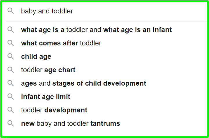 baby and toddler keyword