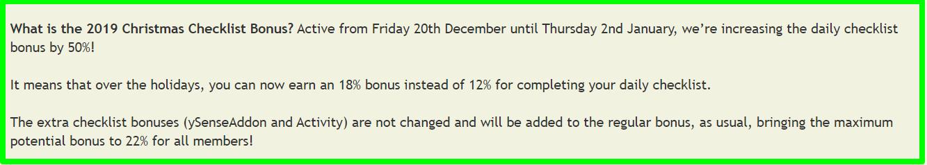 christmas bonus ysense