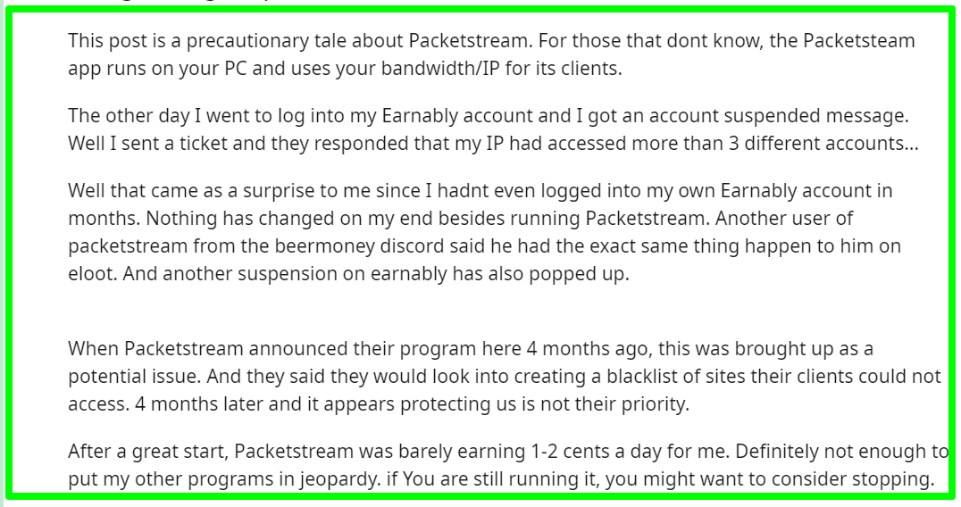 complaints about PacketStream