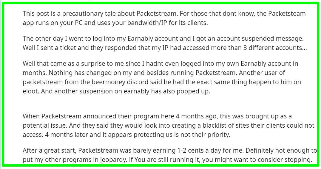 complaints about PacketStream
