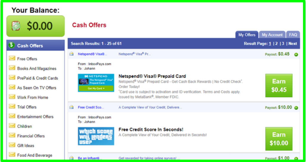 paid offers at inbox pays