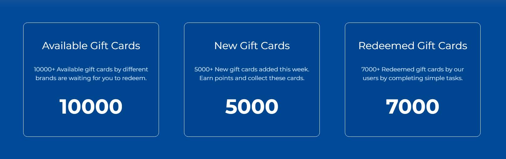 7000 redeemed gift caards