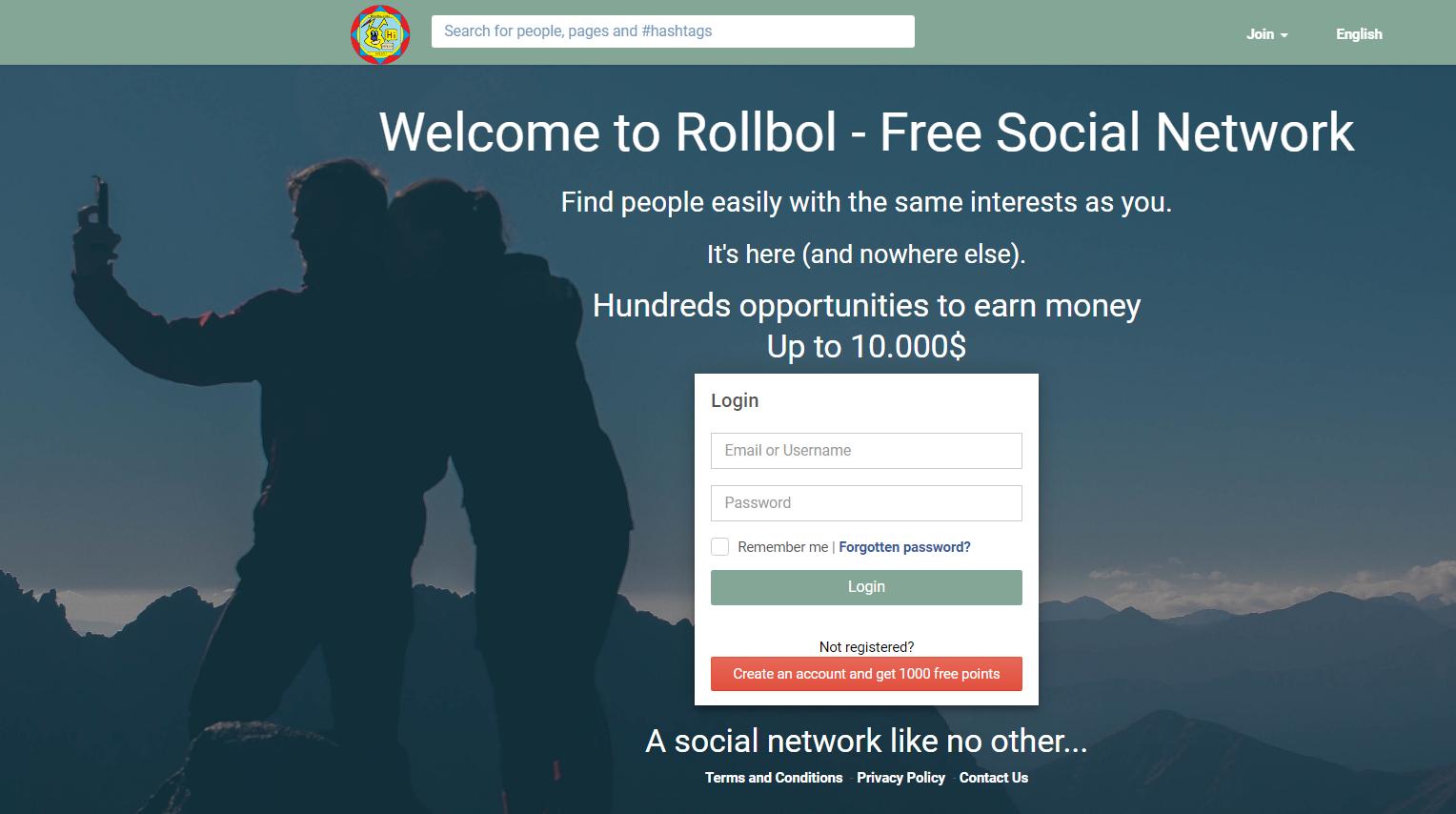 homepage of rollbol