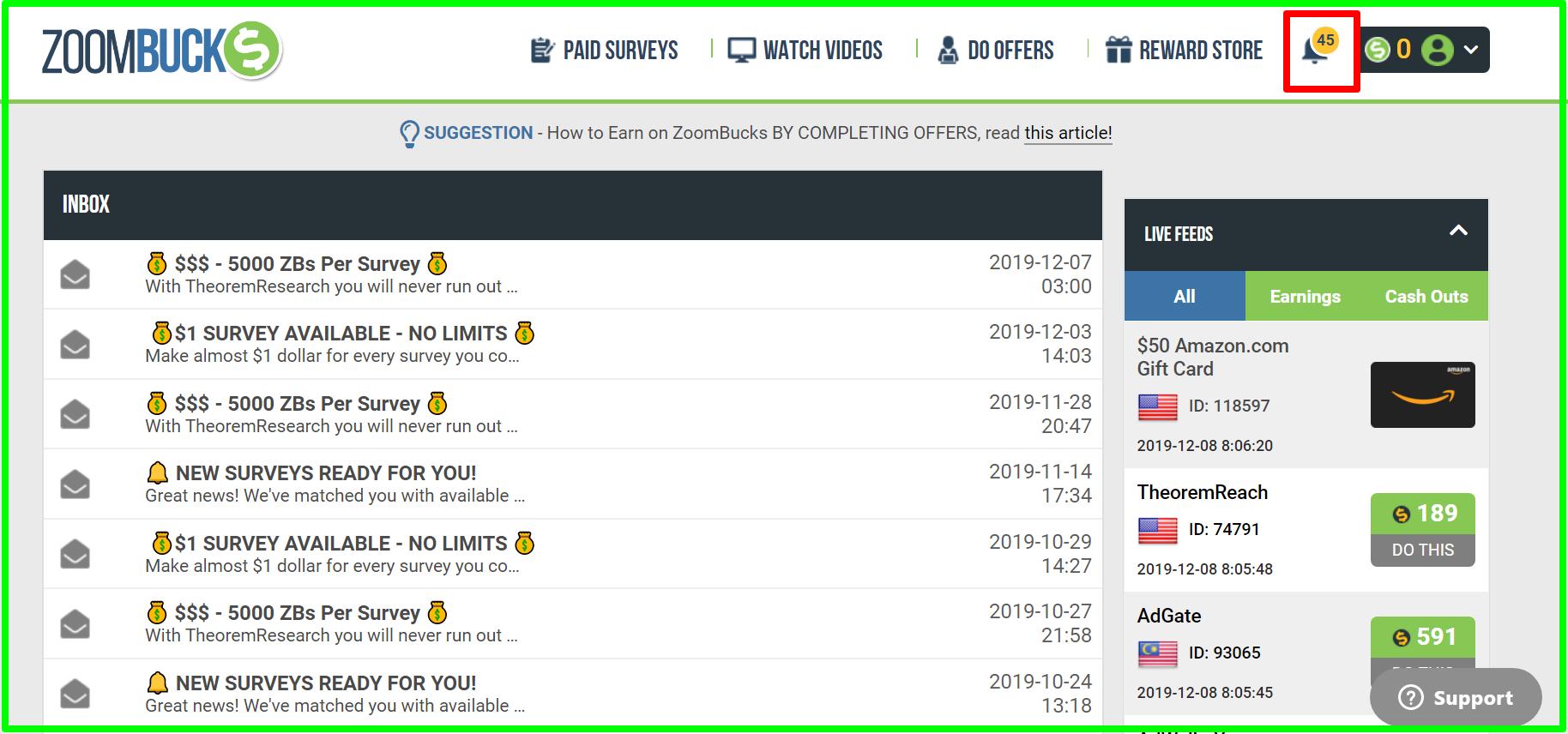 notifications of zoombucks