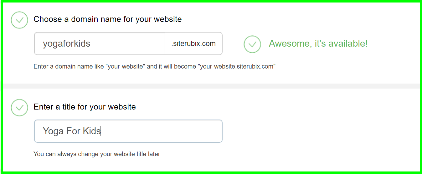 Website Builder - choose a domain
