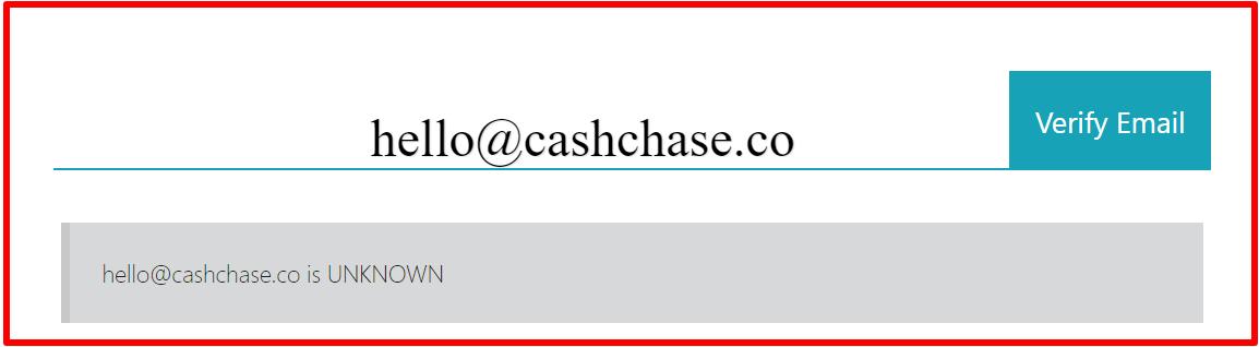 email verification of cashchase