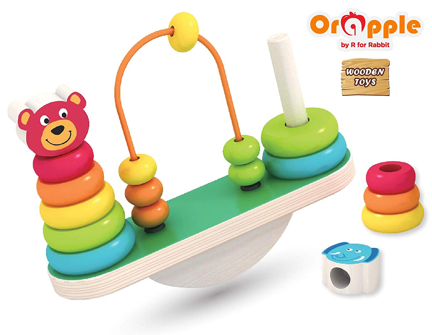 wooden see saw balance stacker toy