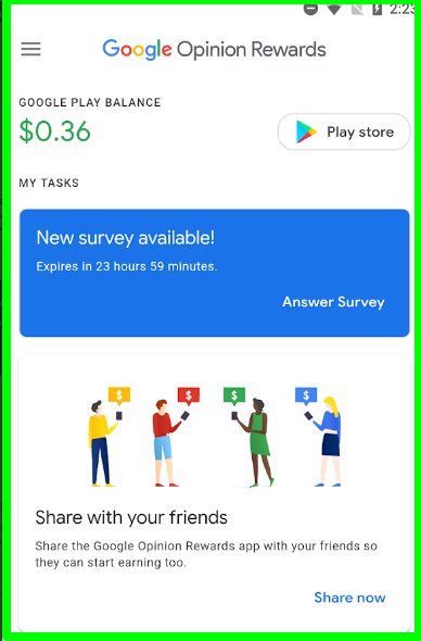 google opinion rewards app
