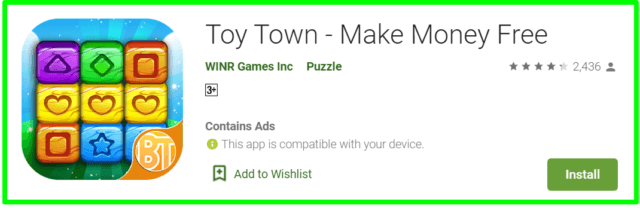 toy town review - homepage