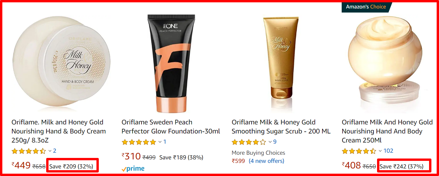 Amazon in oriflame products offer today