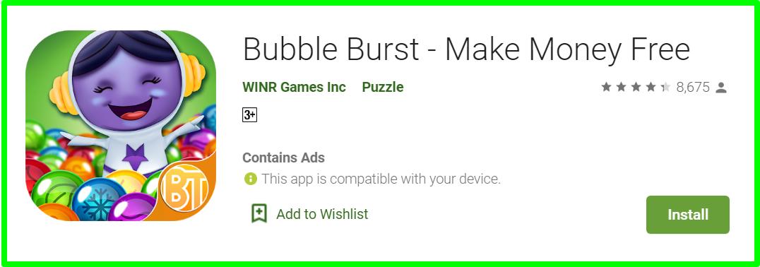 Bubble burst app review homepage