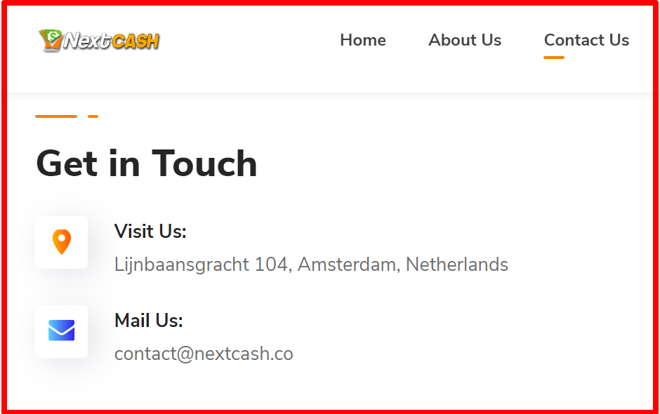 Contact details – NextCash review