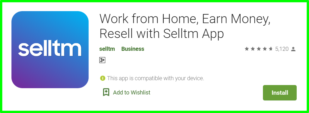 selltm app review - homepage