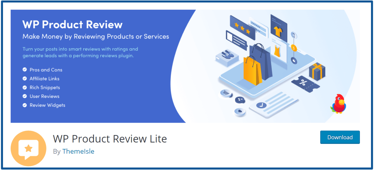 WP Product Review Lite – homepage