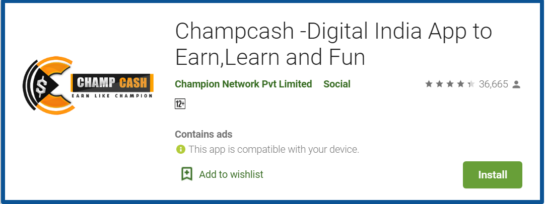 champcash review-google play