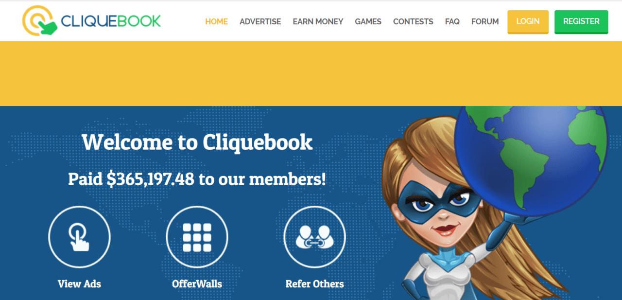 cliquebook review-homepage