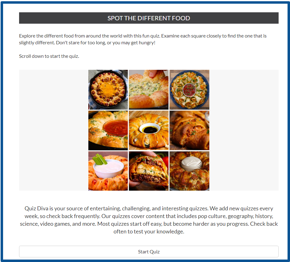 review of idle empire-Quiz Diva - Spot The Different Food