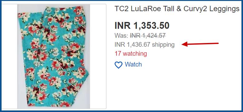 lularoe leggings more shipping than actual price