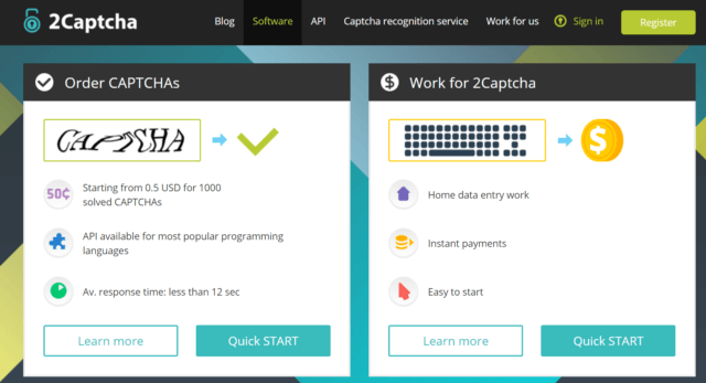 2Captcha review-Homepage